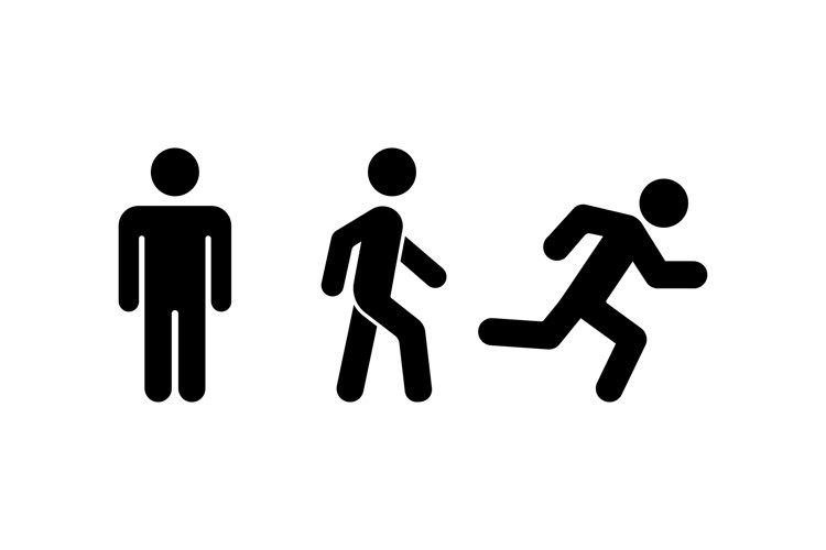 Man stands, walk and run icon. Human movement sign. Vector example image 1
