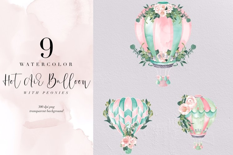 Watercolor Hot Air Balloon with peony, valentine, romantic