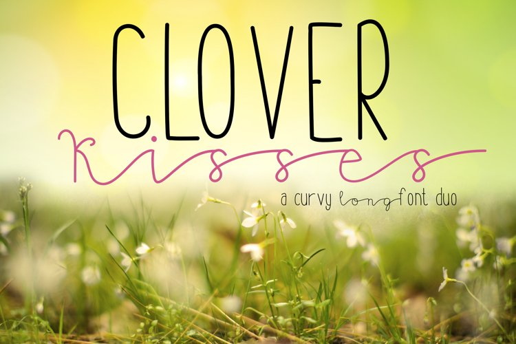 Clover Kisses  A Curvy Long Skinny Font Duo example image 1
