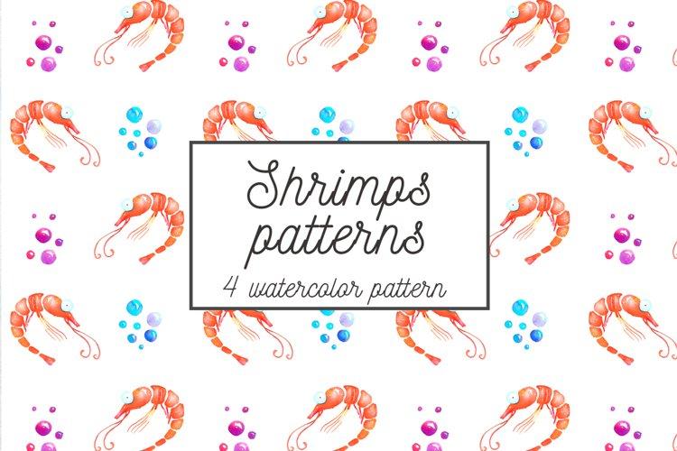 Shrimps watercolor patterns set