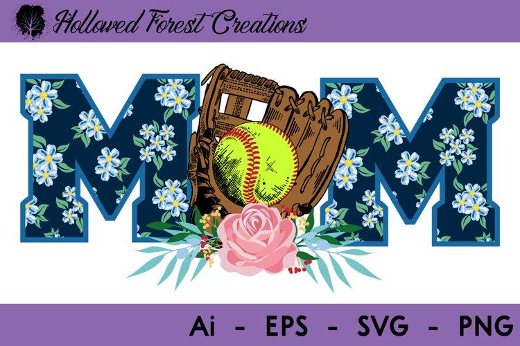 Floral Softball Mom example image 1
