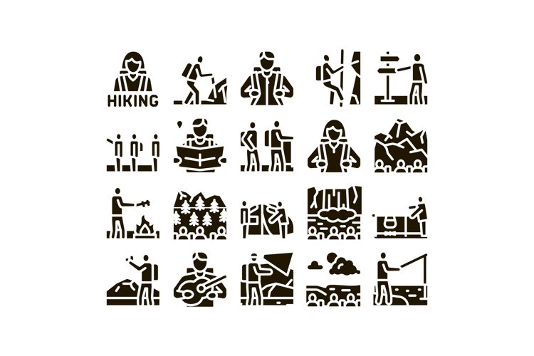 Hiking Extreme Tourism Glyph Set Vector example image 1