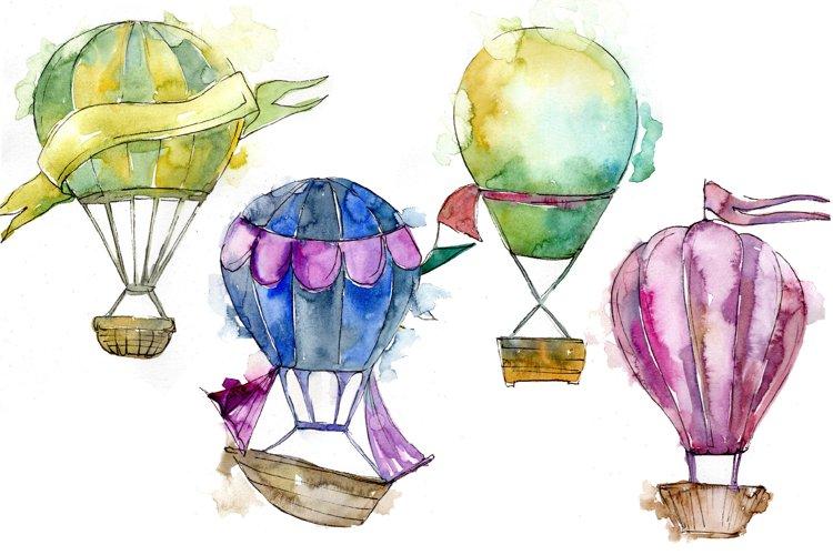 Watercolor holiday hot air balloon PNG set example image 1