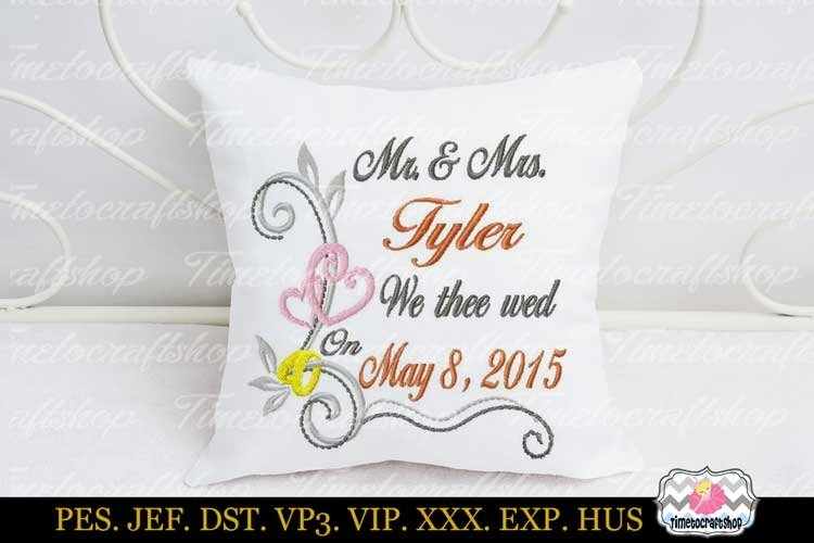3 sizes Wedding Announcement Embroidery Design Template