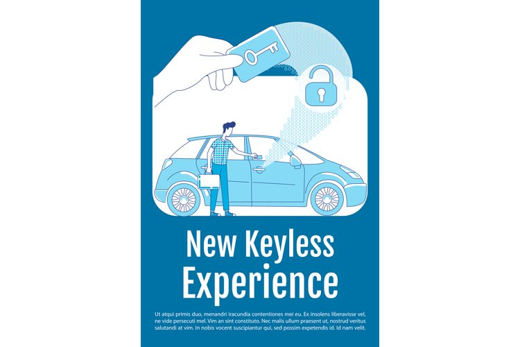 New keyless experience poster silhouette vector template example image 1