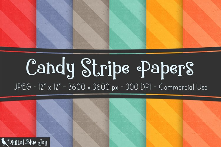 Digital Scrapbook Paper Backgrounds -Candy Stripe example image 1