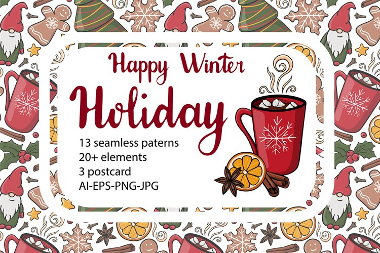 Happy winter holiday collection. Patterns,cliparts,postcards example image 1