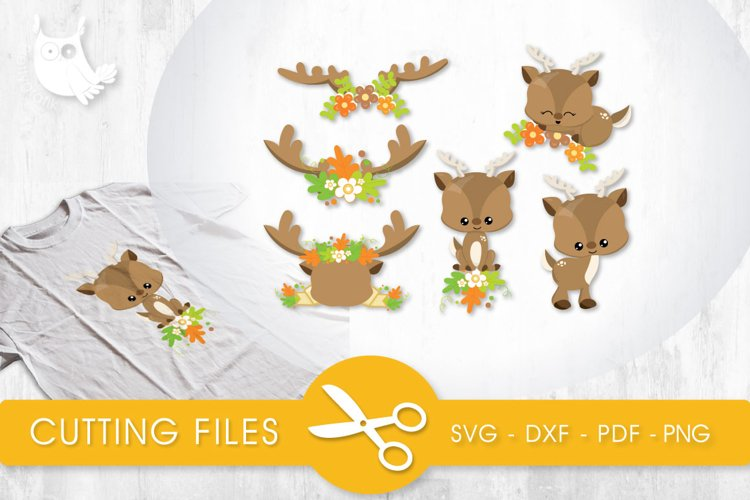 Fall Floral Deer citting files svg, dxf, pdf, eps included - cut files for cricut and silhouette - Cutting Files SVG example image 1