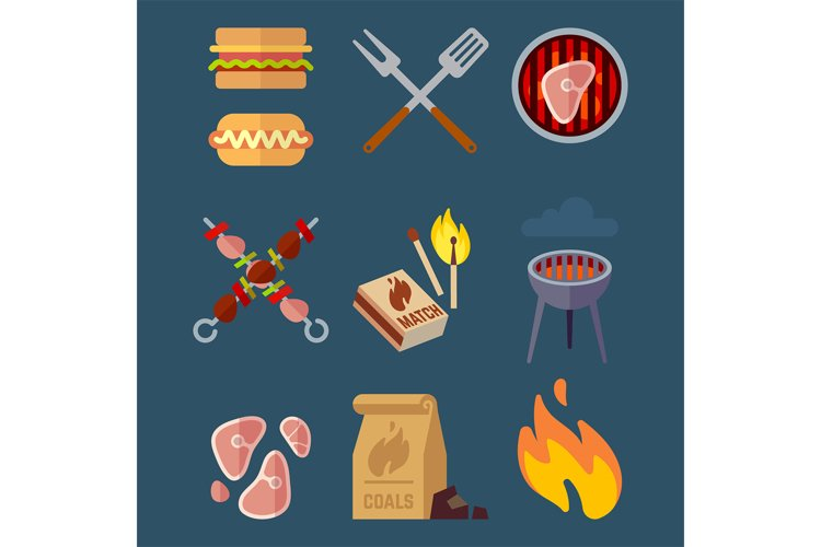 Set of flat barbeque icons for web. Camping vector illustrat