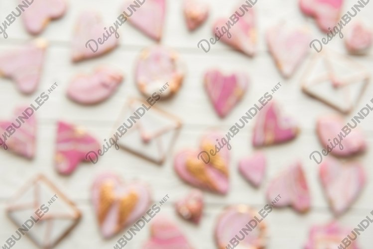 Valentine cookies hearts, envelopes, lips on white backgroun example image 1