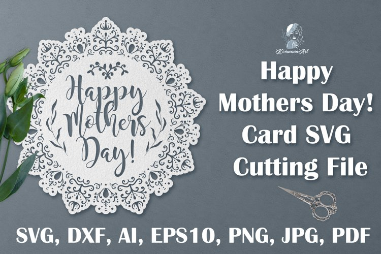 Happy Mothers day SVG Cutting File, Circle Card papercut SVG