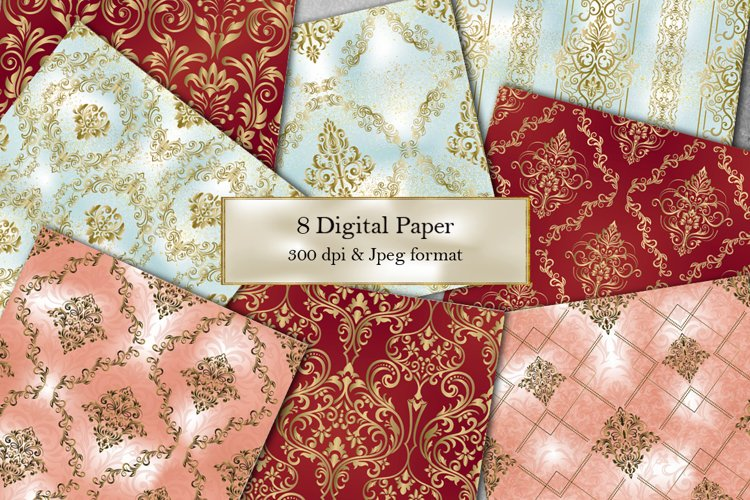 8 Victorian damask seamless pattern. Collection of papers