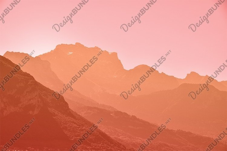 Sunset Pink Orange Aerial Perspective Mountain Landscape example image 1