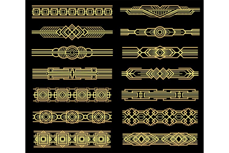 Art deco vector line borders set in 1920s graphic style example image 1