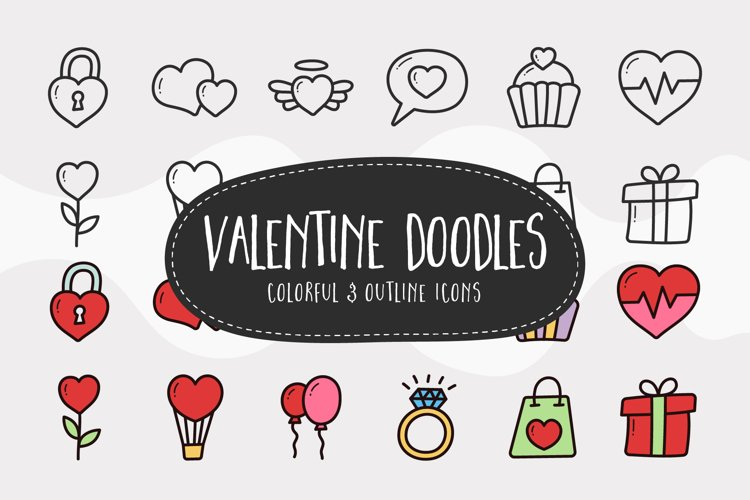 Valentine Doodle Icons - Colorful & Outline example image 1