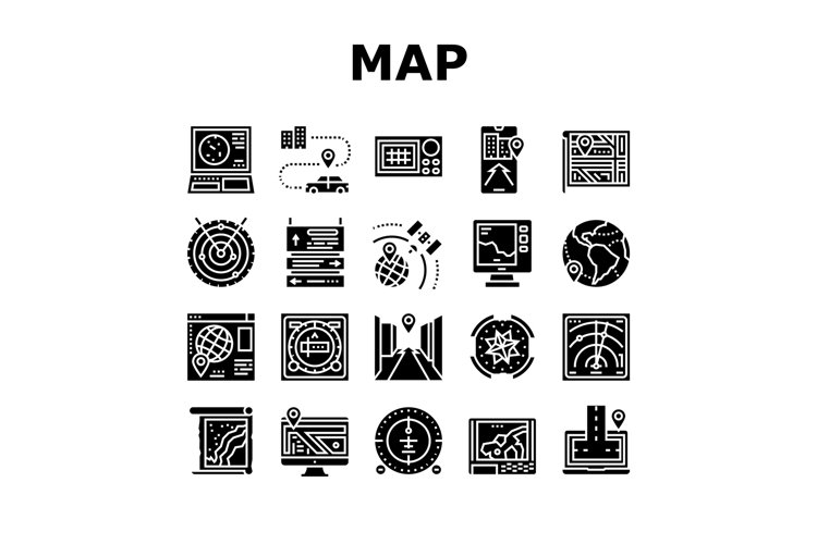 Map Location System Collection Icons Set Vector example image 1