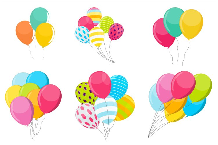 Set of 6 Simple holiday balloon isolated on white background