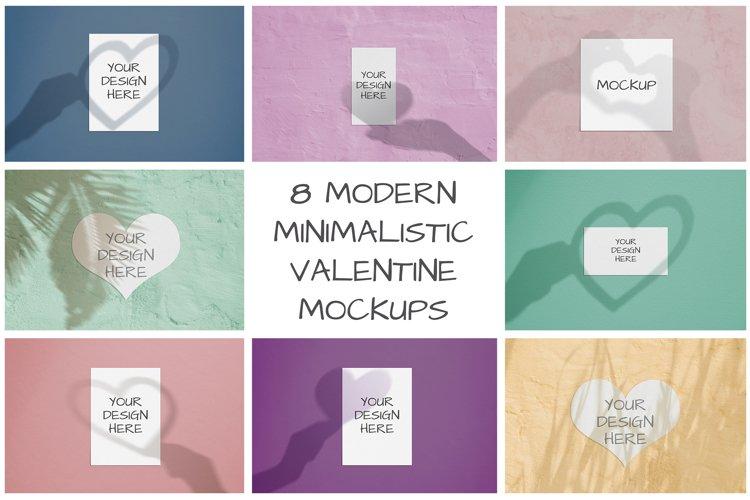 8 modern minimalistic valentine mockups with shadows example image 1