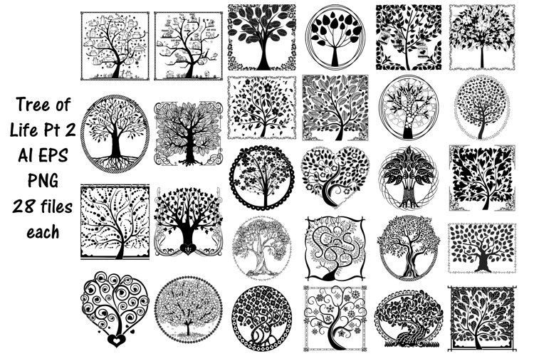 Tree of Life Silhouettes AI EPS Vector & PNG