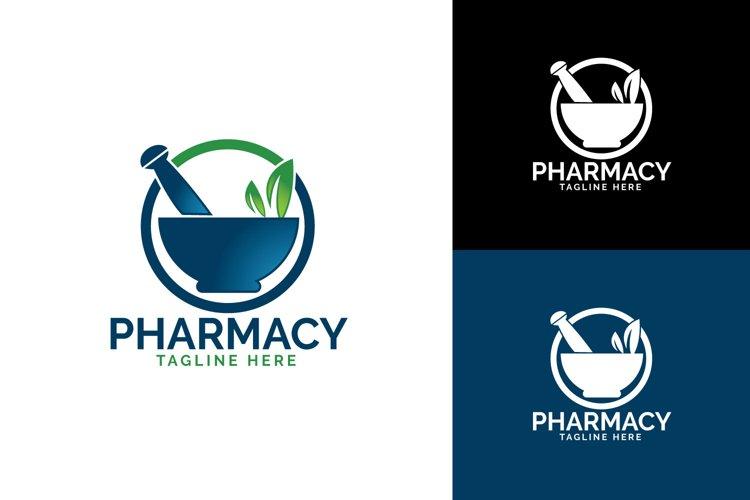 Pharmacy medical logo. Natural mortar and pestle logotype. example image 1