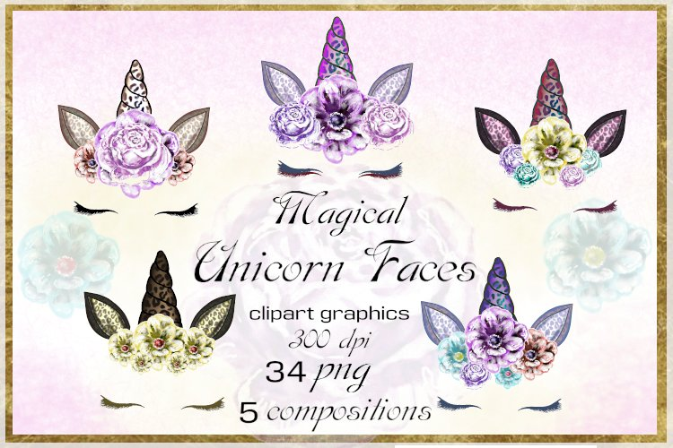 Clip Art Unicorn Face with Leopard Ears, PNG example image 1