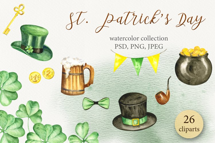 """""""St.Patrick's Day"""" watercolor set example image 1"""