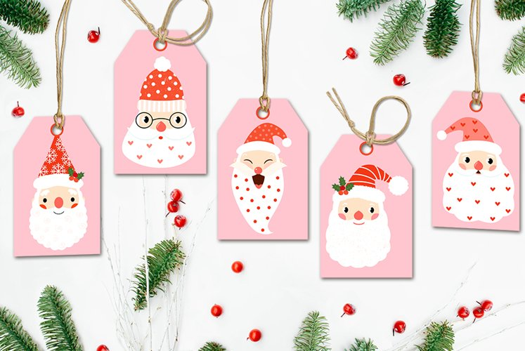 Cute Christmas Santa Claus Gift Tags Page - Pink and Red