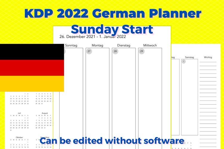 KDP 2022 German Vertical Planner, Sunday Start