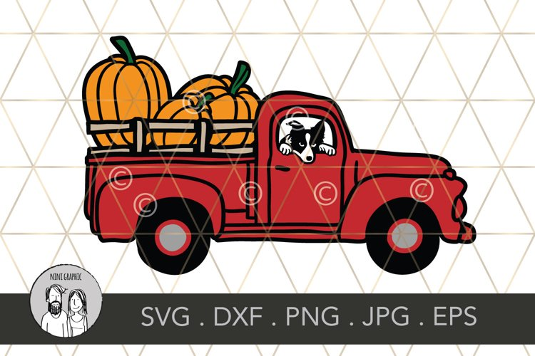 Fall Pumpkin truck with border collie, Cut file