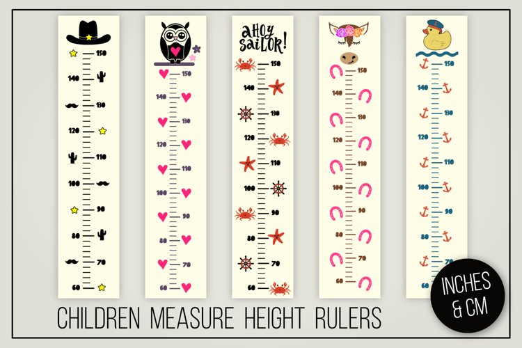 Children measure height rulers