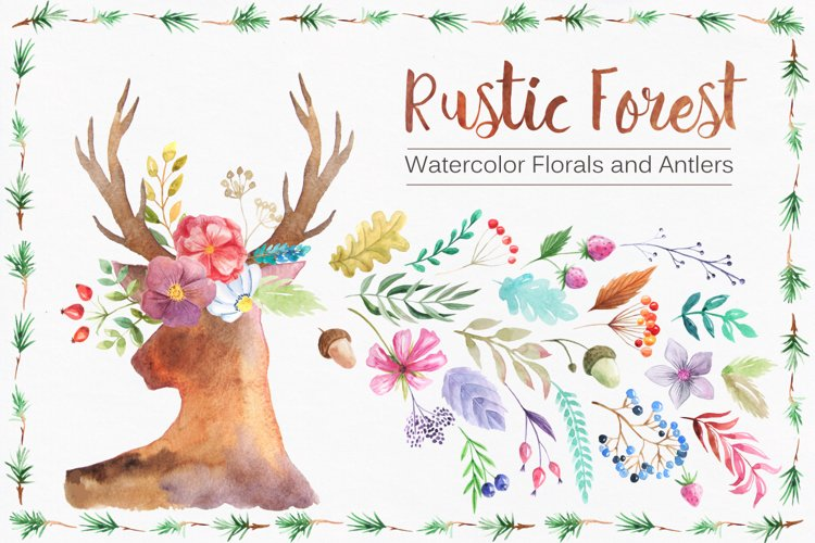 Watercolor Rustic Forest Set example image 1