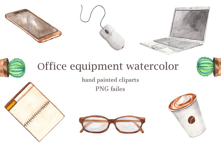 Office equipment watercolor clipart. Laptop, notebook, pen