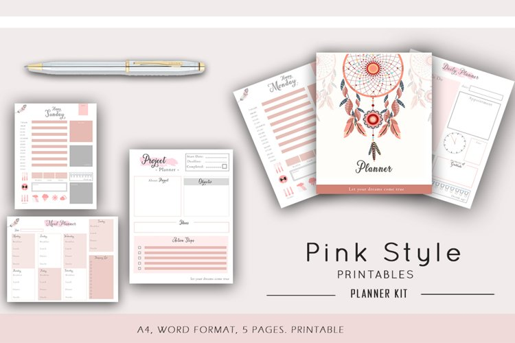 Pink Daily Planner Printable, Productivity planner example image 1