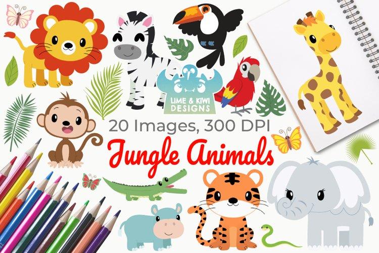Jungle Animals Clipart, Instant Download Vector Art