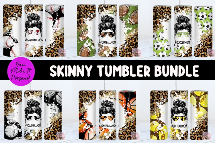 Tumbler Bundle, Messy Bun Designs with Sports Themes example image 1
