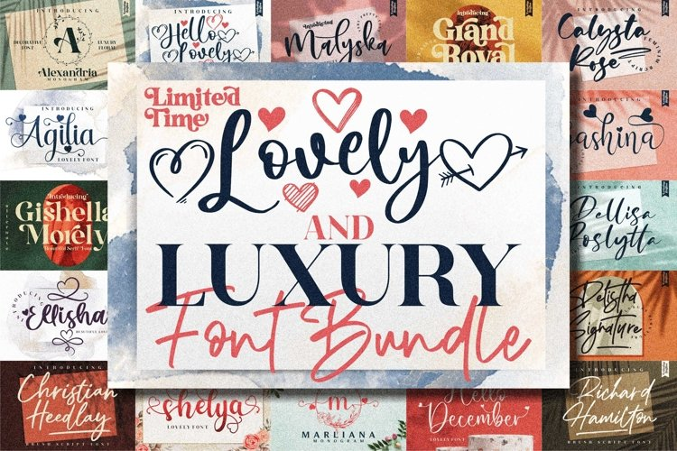Awesome Lovely & Luxurious Font Bundle example image 1