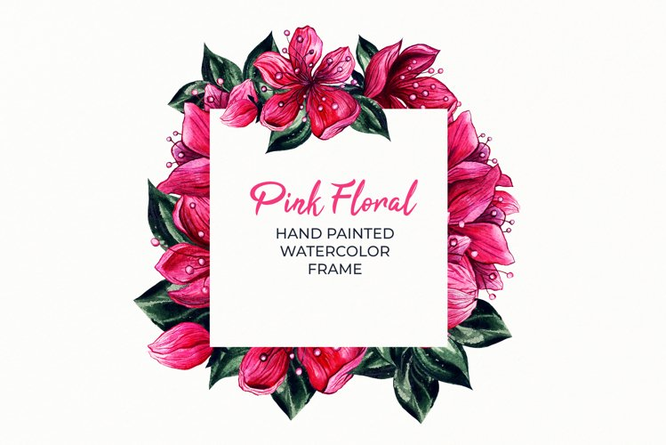 Square Floral Frame PNG,Hand Painted Watercolor Clipart