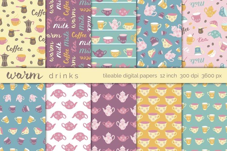 Warm Drinks Tea and Coffee digital papers