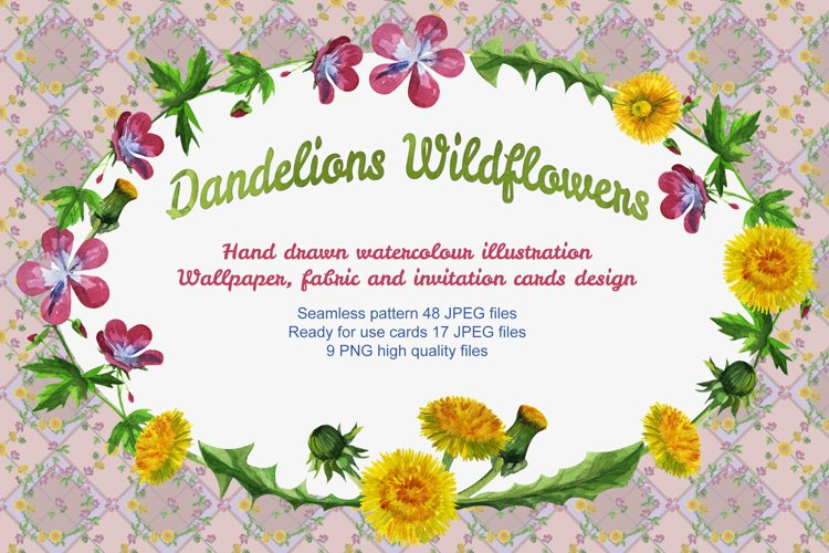 Watercolour wildflowers seamless pattern background example image 1