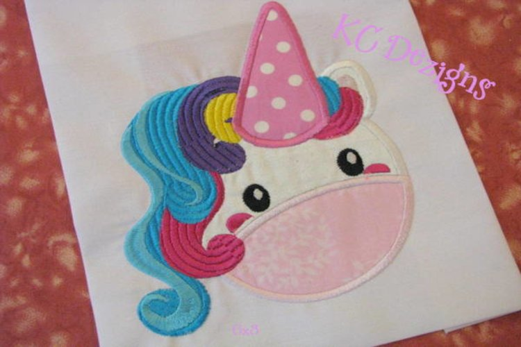 Cute Unicorn Face Machine Applique Embroidery Design