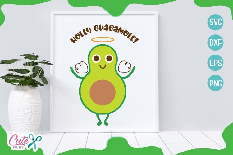 Holly guacamole svg, mexican food cuts files for crafter