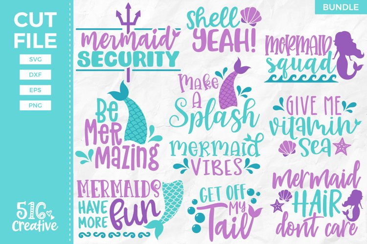 Mermaid Bundle 10 Designs SVG DXF EPS PNG example image 1