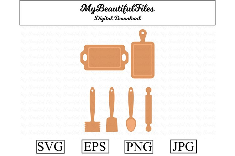 kitchen utensils SVG - Cute cooking SVG, EPS, PNG and JPG example image 1