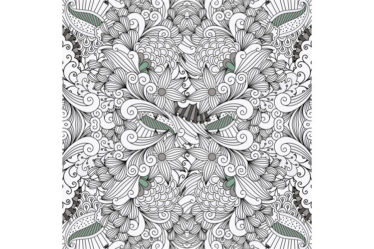Ornamental leafy wave shapes as seamless pattern example image 1