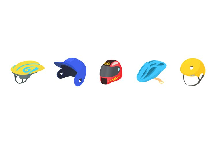 Sport helmet icon set, cartoon style example image 1