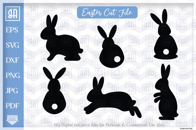 Easter Bunny Silhouette SVG, Easter bunny bundle, Easter SVG example image 1