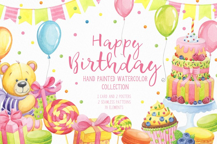 Happy Birthday hand painted watercolor collection example image 1