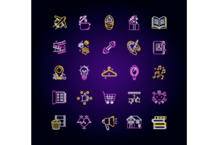 Healthy lifestyle neon light icons set example image 1