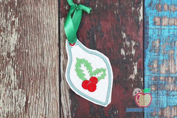 Christmas Holly Leaves and Berry In The Hoop Ornament example image 1