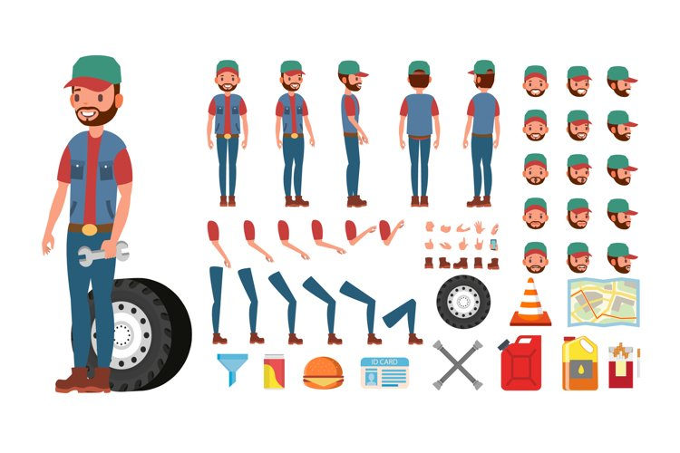 Truck Driver Vector. Animated Trucker Character Creation example image 1